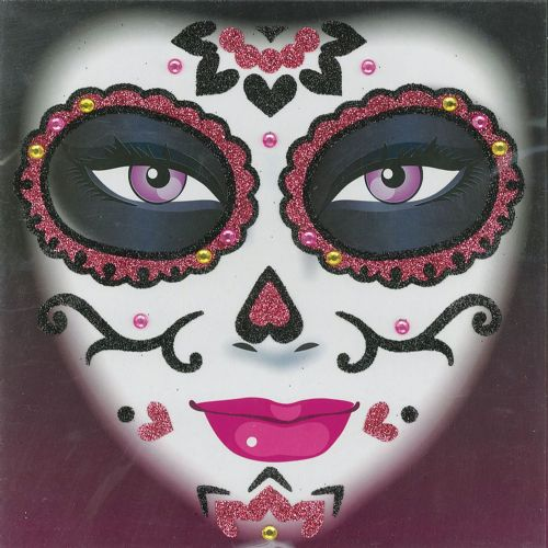 Day of the Dead Glitter Tattoo Halloween D.O.T.D Fancy Dress Prop